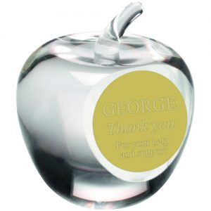 CLEAR GLASS 'APPLE' PAPERWEIGHT TROPHY – 3.5in