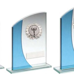 JADE/BLUE RECTANGLE GLASS WITH SILVER WREATH TRIM TROPHY