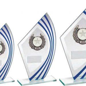 JADE/BLUE/SILVER SAIL GLASS WITH SILV/BLK WREATH TRIM TROPHY