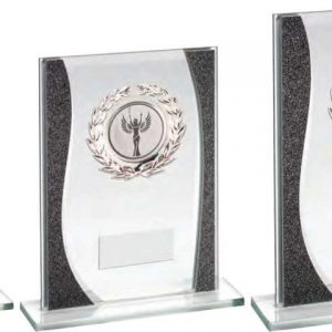 JADE/SILVER RECTANGLE GLASS WITH SILVER WREATH TRIM TROPHY