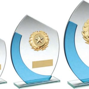 JADE/BLUE OVAL GLASS WITH GOLD WREATH TRIM TROPHY