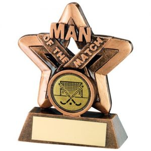 BRZ/GOLD MAN OF THE MATCH MINI STAR WITH HOCKEY INSERT TROPHY – 3.75in