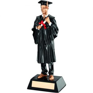 BLK/GOLD RESIN MALE GRADUATE TROPHY – 9.25in