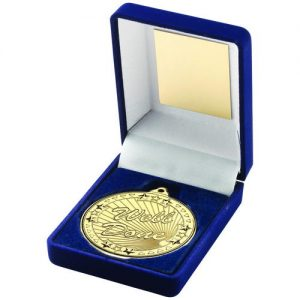 BLUE VELVET BOX AND 50mm GOLD MEDAL WELL DONE TROPHY – 3.5in