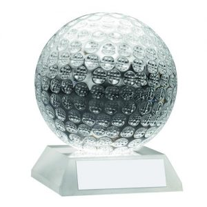 CLEAR GLASS GOLF BALL TROPHY – 3.75in