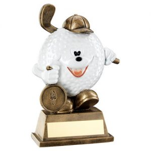 BRZ/WHITE COMEDY GOLF BALL FIGURE TROPHY (1in CENTRE) – 5.75in