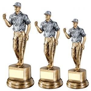 BRZ/PEW MALE 'CLENCHED FIST' GOLFER TROPHY