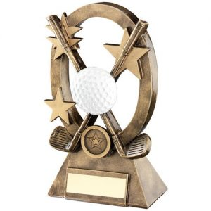 BRZ/GOLD/WHITE GOLF OVAL/STARS SERIES TROPHY – (1in CENTRE) 8.25in
