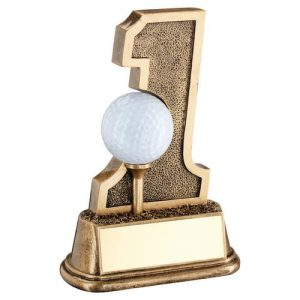 BRZ/GOLD GOLF 'HOLE IN ONE' BALL HOLDER TROPHY – 6in