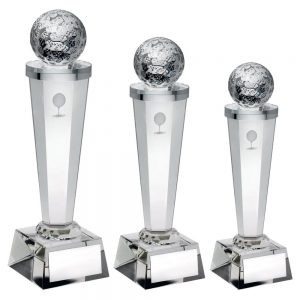 CLEAR GLASS COLUMN WITH LASERED GOLF IMAGE TROPHY