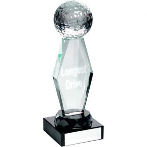 CLEAR GLASS LASERED GOLF COLUMN ON BLACK BASE L.D – 7.25in