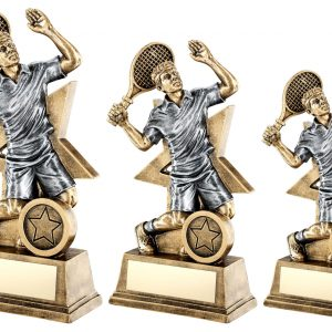 BRZ/GOLD/PEW MALE TENNIS FIGURE WITH STAR BACKING TROPHY