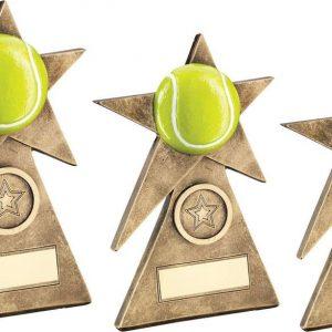 BRZ/GOLD/YELLOW TENNIS STAR ON PYRAMID BASE TROPHY