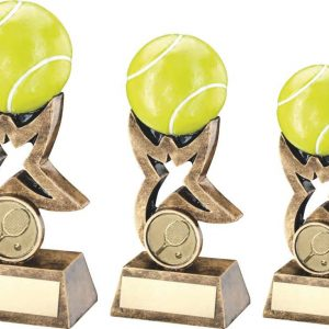 BRZ/GOLD/YELLOW TENNIS BALL ON STAR RISER TROPHY