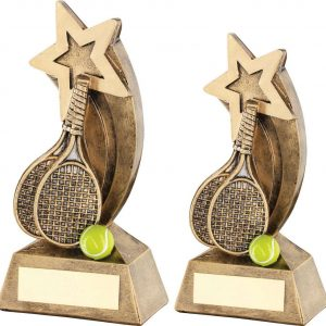 BRZ/GOLD/YELLOW TENNIS RACKETS/BALL WITH SHOOTING STAR TROPHY