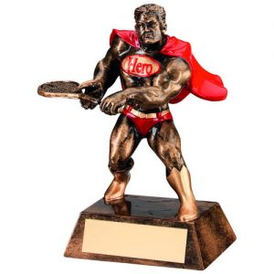 BRZ/GOLD/RED RESIN TENNIS 'HERO' TROPHY – 6in