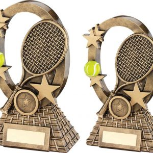 BRZ/GOLD/YELLOW TENNIS OVAL/STARS SERIES TROPHY