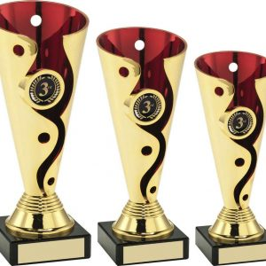 GOLD/RED PLASTIC SWIRL AND DOT TROPHY