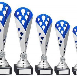 SILVER/BLUE TALL PLASTIC TRIANGLE TROPHY