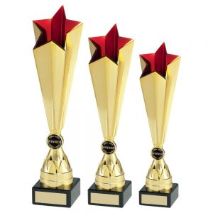 GOLD/RED PLASTIC TALL STAR TROPHY