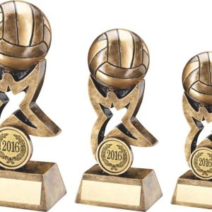 BRZ/GOLD GAELIC FOOTBALL ON STAR TROPHY RISER TROPHY