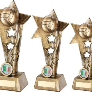 BRZ/GOLD GAELIC FOOTBALL TWISTED STAR COLUMN TROPHY