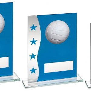 BLUE/SILVER PRINTED GLASS PLAQUE WITH GAELIC FOOTBALL IMAGE TROPHY