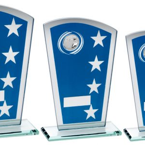 BLUE/SILVER PRINTED GLASS SHIELD WITH SHOOTING INSERT TROPHY