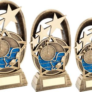BRZ/GOLD/BLUE SWIMMING TRI STAR OVAL PLAQUE TROPHY
