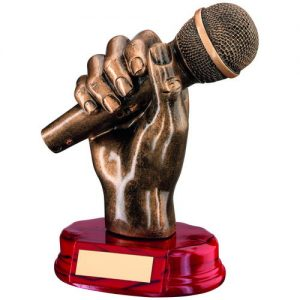 BRZ/GOLD RESIN MICROPHONE IN HAND TROPHY – 7in