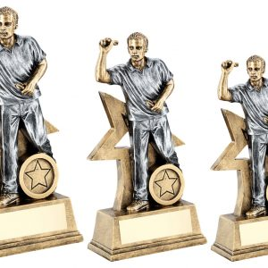 BRZ/GOLD/PEW MALE DARTS FIGURE WITH STAR BACKING TROPHY