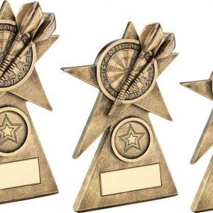 BRZ/GOLD DARTS STAR ON PYRAMID BASE TROPHY