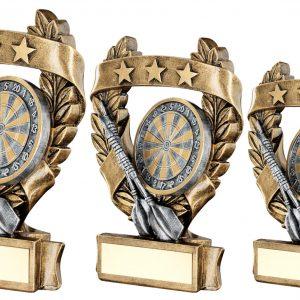 BRZ/PEW/GOLD DARTS 3 STAR WREATH AWARD TROPHY