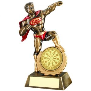 BRZ/GOLD/RED RESIN GENERIC 'HERO' AWARD WITH DARTS INSERT – 7.25in