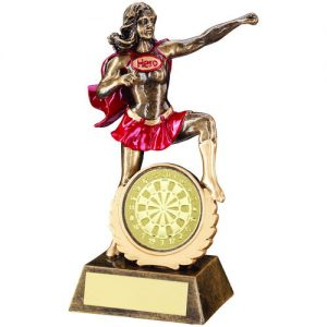 BRZ/GOLD/RED RESIN FEMALE 'HERO' AWARD WITH DARTS INSERT – 7.5in