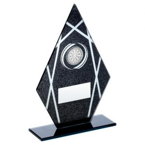 BLACK/SILVER PRINTED GLASS DIAMOND WITH DARTS INSERT TROPHY