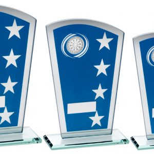 BLUE/SILVER PRINTED GLASS SHIELD WITH DARTS INSERT TROPHY