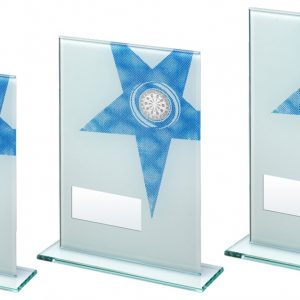 WHITE/BLUE PRINTED GLASS RECTANGLE WITH DARTS INSERT TROPHY – 6.5in