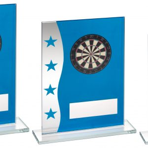 BLUE/SILVER PRINTED GLASS PLAQUE WITH DARTBOARD IMAGE TROPHY – 8in