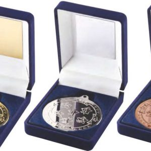 BLUE VELVET BOX AND 50mm MEDAL MULTI ATHLETICS TROPHY