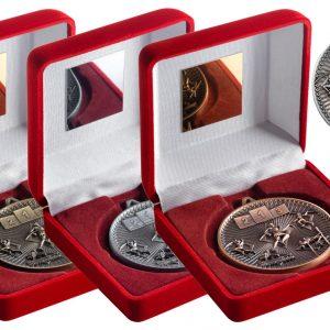 RED VELVET BOX AND 60mm MEDAL ATHLETICS TROPHY