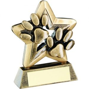 BRZ/GOLD DOG PAWS TROPHY MINI STAR TROPHY – 3.75in