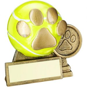 BRZ/GOLD/YELLOW 3D MINI TENNIS BALL WITH DOG PAW TROPHY – (1in CENTRE) 3in