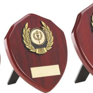 ROSEWOOD SHIELD AND GOLD TRIM TROPHY
