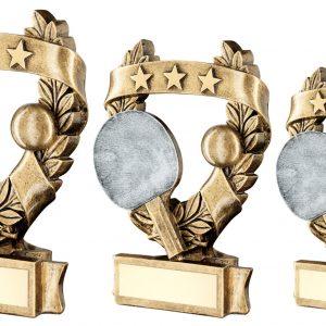 BRZ/PEW/GOLD TABLE TENNIS 3 STAR WREATH AWARD TROPHY