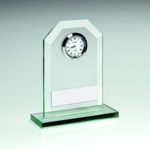 JADE GLASS CLOCK TROPHY – 4.25in