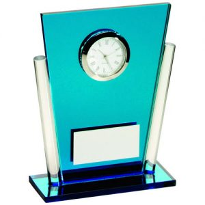 BLUE/CLEAR GLASS TAPERED RECTANGLE CLOCK TROPHY – 5.25in