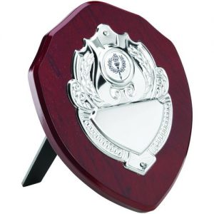 ROSEWOOD SHIELD WITH CHROME FRONT (1in CENTRE) – 4in