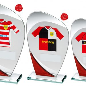 JADE/RED/SILVER GLASS PLAQUE WITH RUGBY SHIRT TROPHY
