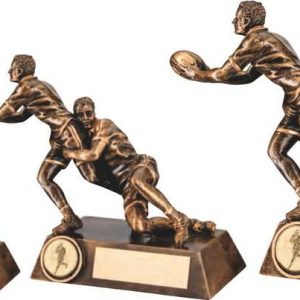 BRZ/GOLD DOUBLE RUGBY 'TACKLE' FIGURE TROPHY